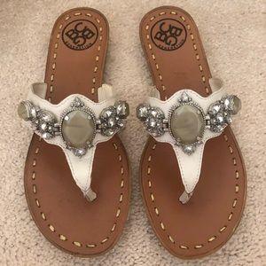 BCBG Embellished Leather Sandals